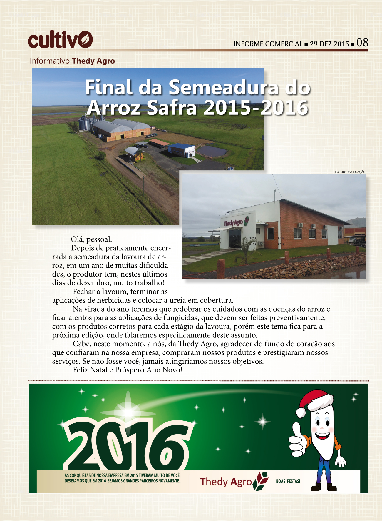 Noticia na ZH – Final de semeadura do Arroz safra 2015-2016
